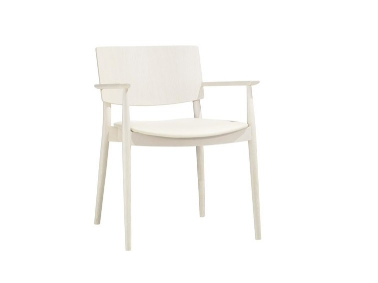 Wooden chair with integrated cushion HAPPY SO0378 by Andreu World