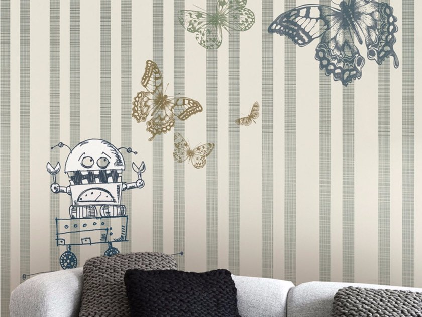 Striped panoramic wallpaper HAPPY TERRY by Inkiostro Bianco