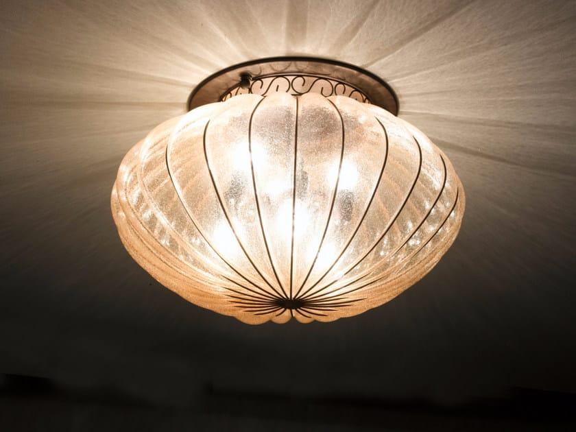 Plafoniere Vetro Di Murano : Plafoniera vetro di murano montatura ottone e verde antea pl