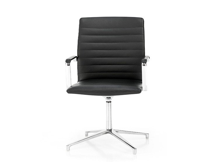 Leather chair with 4-spoke base with armrests HARMONY | Chair with 4-spoke base by Polflex