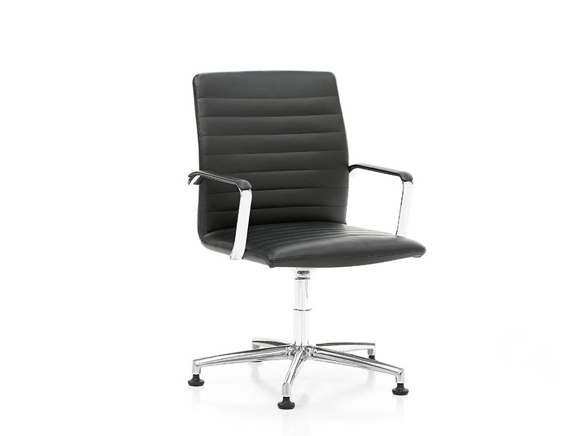 Leather chair with 5-spoke base with armrests HARMONY | Chair with 5-spoke base by Polflex