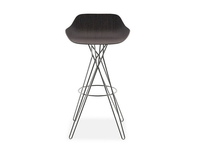 High trestle-based stool with footrest HARMONY | Stool by poliform