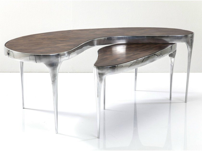 Aluminium and wood coffee table Coffee table by KARE-DESIGN