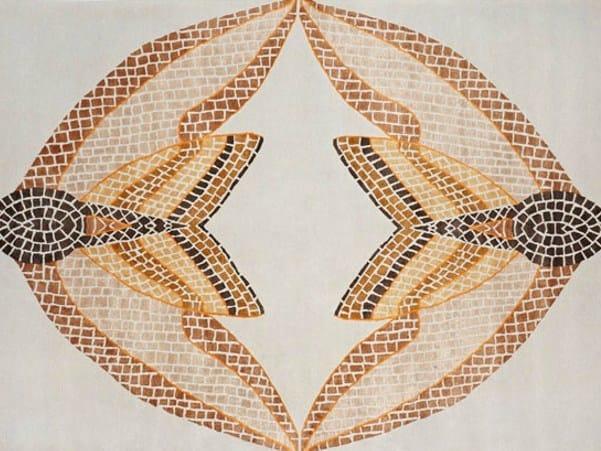 Handmade rectangular rug HAWK MOTH MOSAIC by Deirdre Dyson