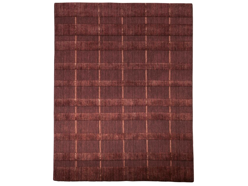 Handmade rectangular rug HAZAN DUO STRIPES COGNAC by EBRU