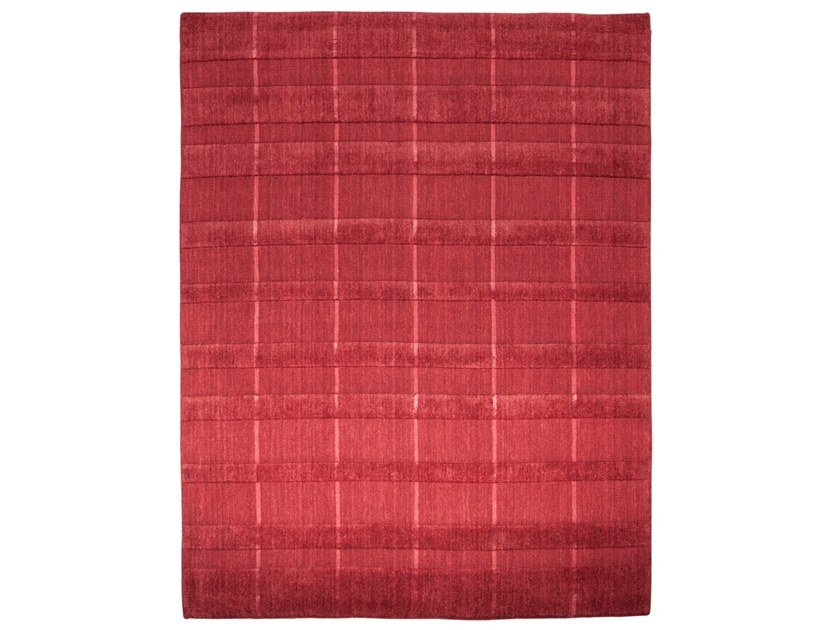 Handmade rectangular rug HAZAN DUO STRIPES DEEP RED by EBRU