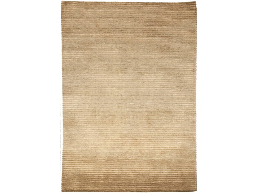 Handmade rectangular rug HAZAN MINI STRIPES BEIGE OLIVE by EBRU