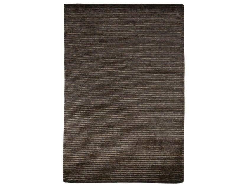 Handmade rectangular rug HAZAN MINI STRIPES BLACK OLIVE by EBRU