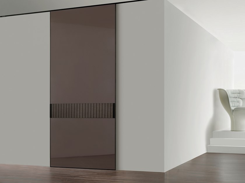 Lacquered tempered glass sliding door HEADLINE | Lacquered door by Longhi