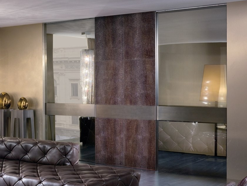 Leather sliding door HEADLINE | Sliding door by Longhi