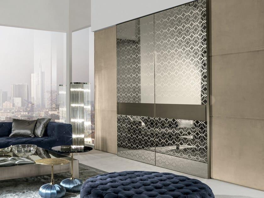 Mirrored glass sliding door HEADLINE | Mirrored glass door by Longhi