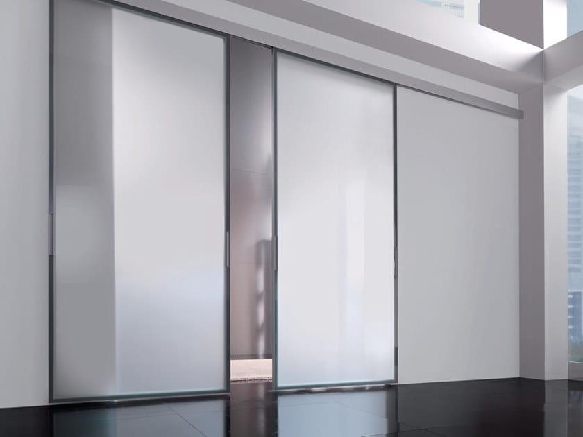Etched glass sliding door HEADLINE | Etched glass door by Longhi