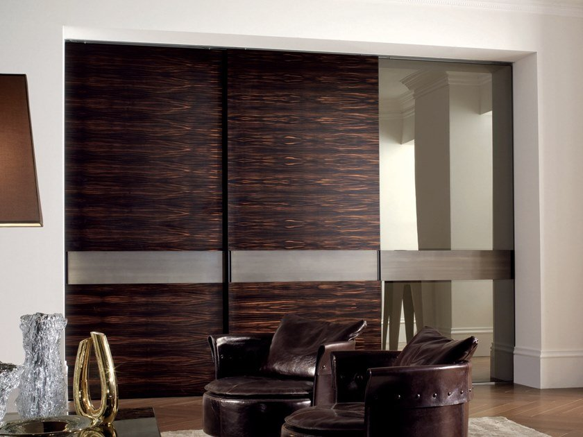 Wood and glass sliding door HEADLINE | Wood and glass door by Longhi