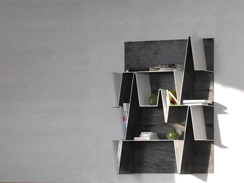 Open wall-mounted metal and Solid Surface® bookcase HEART   Metal bookcase by Boffetto