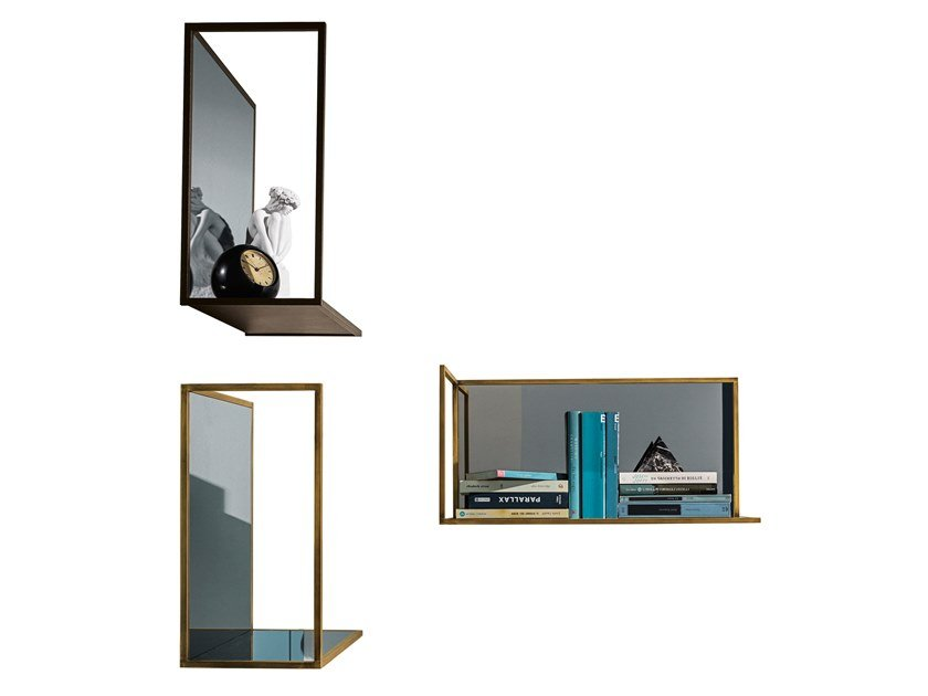 Rectangular wall-mounted mirror with shelf HELIA | Rectangular mirror by Sovet italia