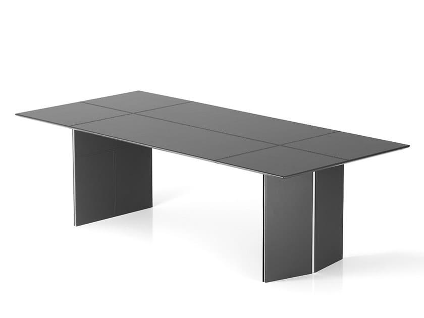 Rectangular leather office desk HELIOS by Polflex