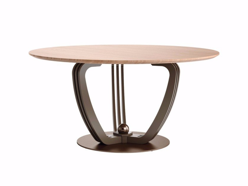 Round steel and wood table HELIX | Steel and wood table by Caroti