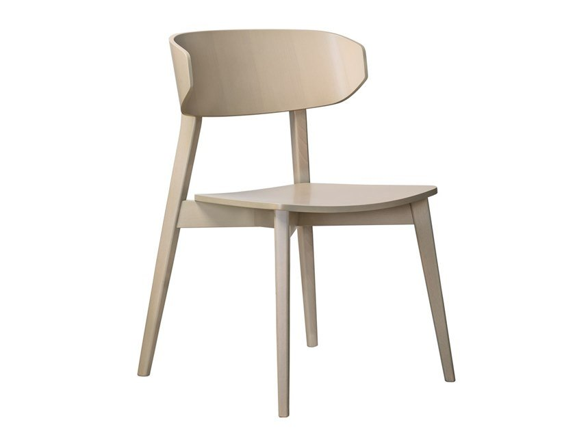 Stackable open back beech chair HELLEN PLUS SE01 by New Life