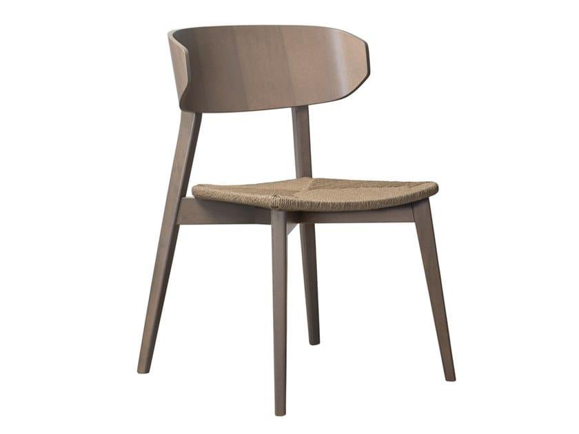 Stackable open back beech chair HELLEN PLUS SE05 by New Life