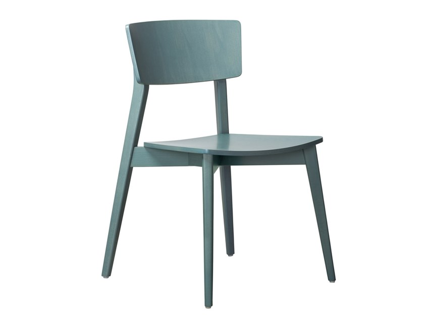 Stackable open back beech chair HELLEN SE01 by New Life