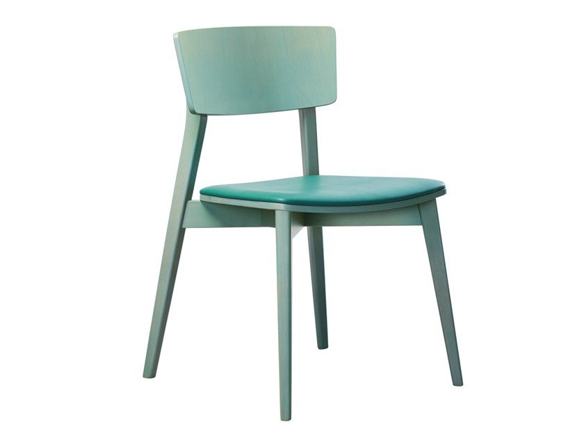 Stackable beech chair with integrated cushion HELLEN SE02 by New Life
