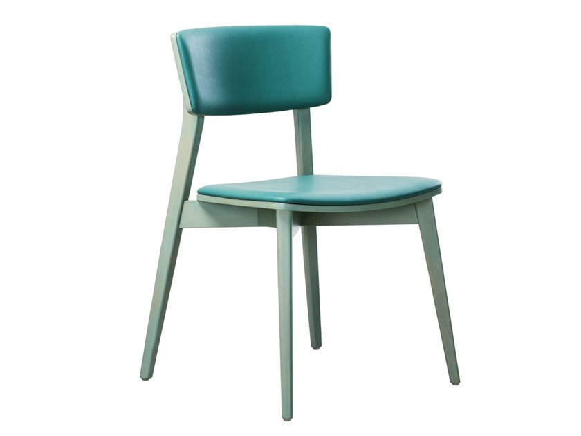 Stackable beech chair with integrated cushion HELLEN SE03 by New Life