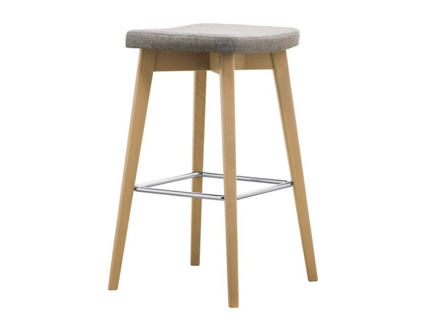 High upholstered beech stool with footrest HELLEN STOOL SG04 by New Life