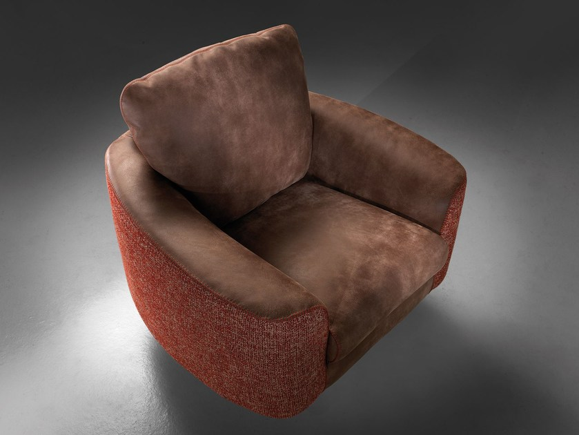 Leather and fabric armchair with 5-spoke base HELLIS | Armchair by Borzalino