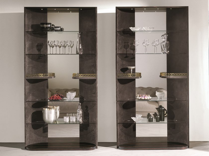 Open leather shelving unit HENNESY | Shelving unit by Longhi