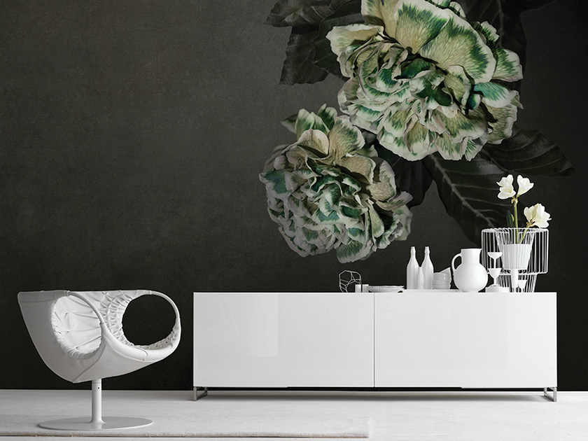 Panoramic wallpaper with floral pattern HERA by Inkiostro Bianco