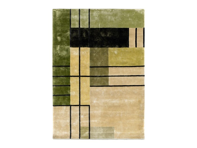 Handmade Bamboo silk rug HERENCIA GREEN by Tacto