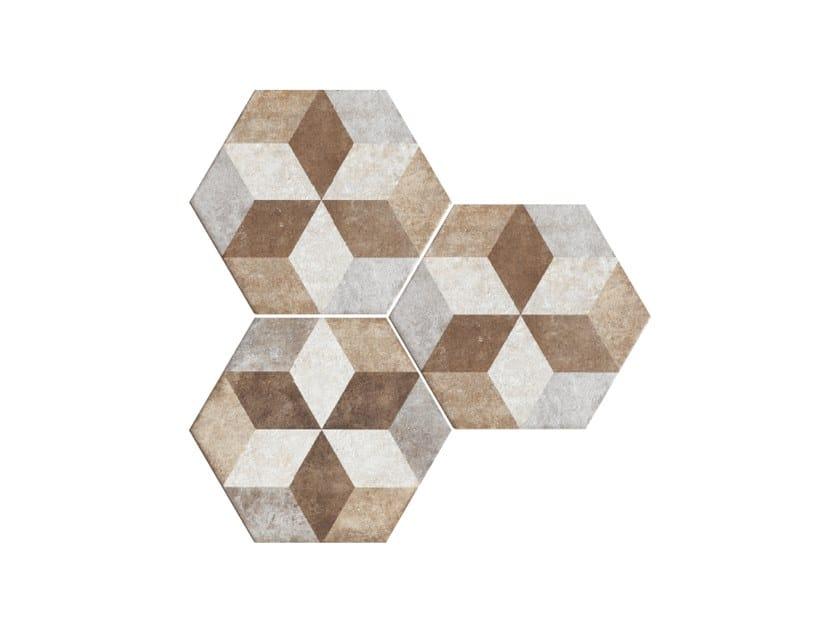 Porcelain stoneware wall/floor tiles HERITAGE EXAGONA DECO TEXTURE 4 by Ceramica Fioranese