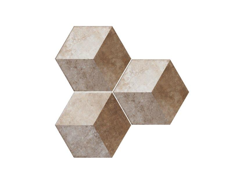 Porcelain stoneware wall/floor tiles HERITAGE EXAGONA DECO TEXTURE 2 by Ceramica Fioranese