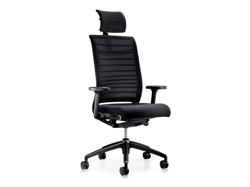 Height-adjustable swivel mesh executive chair with headrest HERO 275H by Interstuhl
