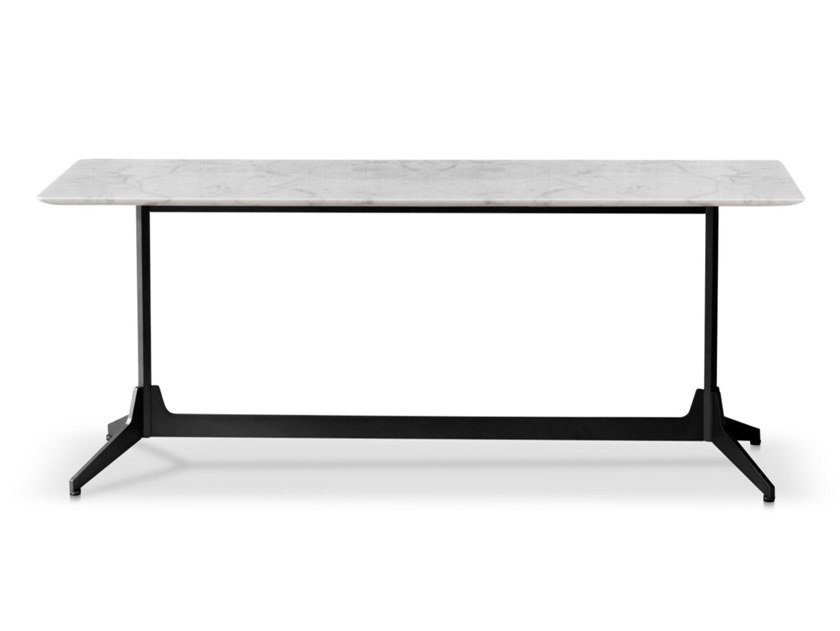 Rectangular Carrara marble console table HEXA | Console table by Saba Italia