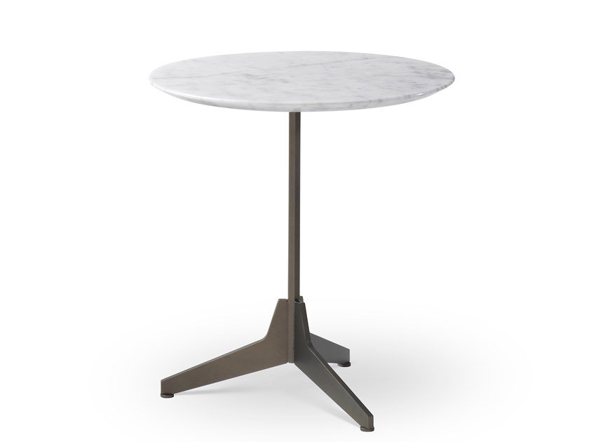 Round marble high side table HEXA   High side table by Saba Italia