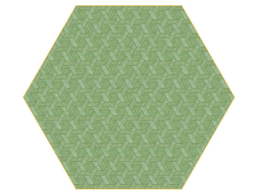 Rug with geometric shapes HEXAGON GREEN by moooi