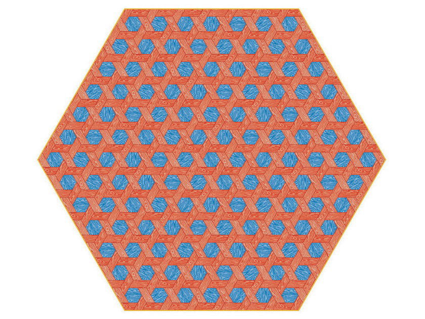 Rug with geometric shapes HEXAGON RED / BLUE by moooi