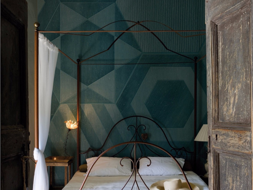 Geometric panoramic wallpaper with concrete effect HEXAGONS by Inkiostro Bianco
