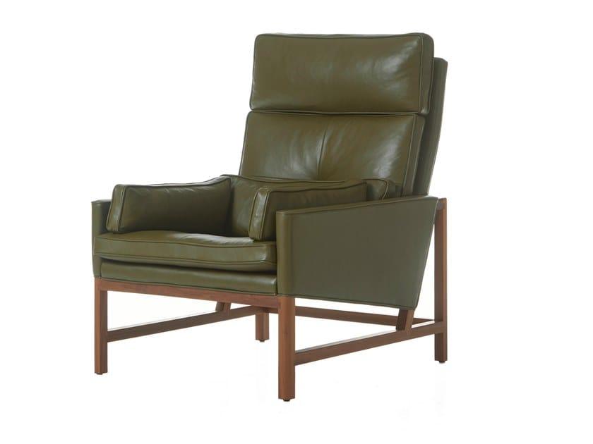 High-back leather armchair WOOD FRAME LOUNGE | High-back armchair by BassamFellows