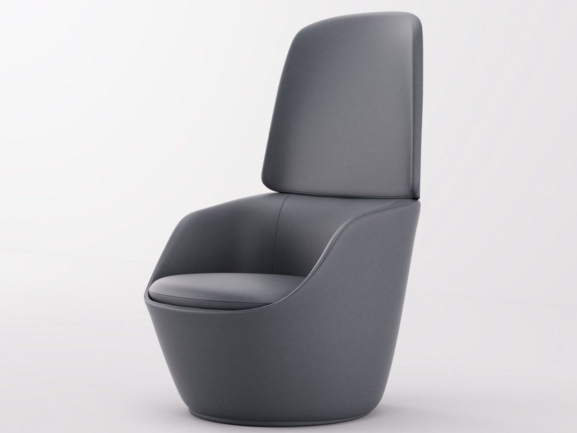 Leather armchair with armrests RADAR | High-back armchair by Emmegi