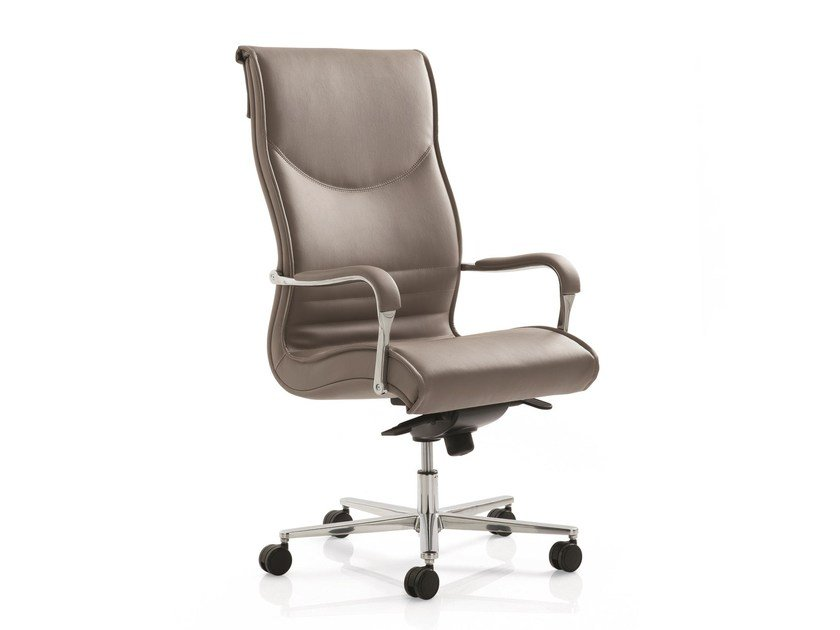 High-back executive chair with 5-spoke base with armrests PULCHRA | High-back executive chair by Emmegi