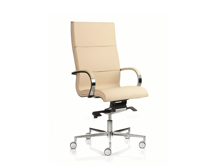 High-back executive chair with 5-spoke base with armrests EM203 | High-back executive chair by Emmegi
