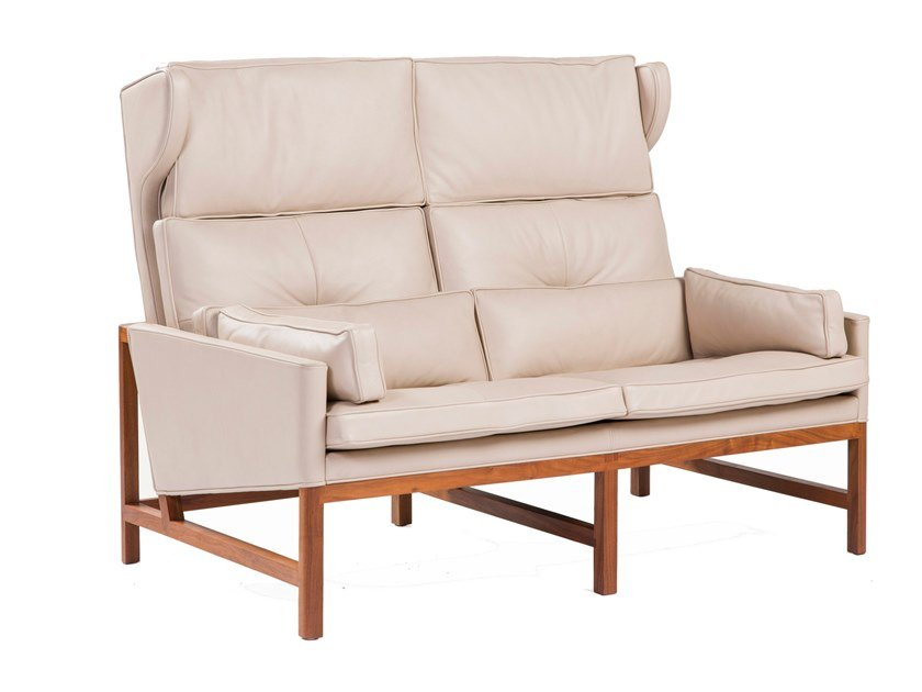 High-back leather small sofa WOOD FRAME LOUNGE   High-back small sofa by BassamFellows