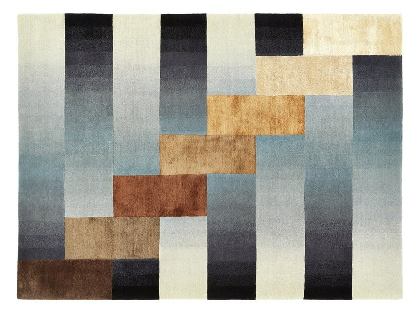 Handmade rectangular wool rug HIGH RISE by Deirdre Dyson