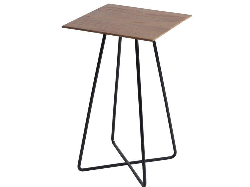 Square teak high side table with metal base SIRIRI | High side table by ALANKARAM