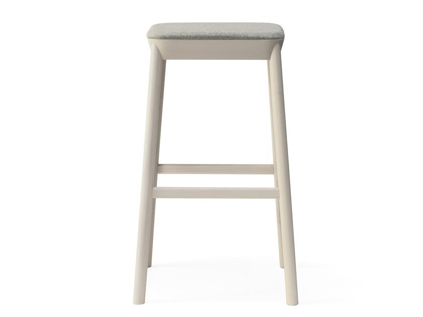 High upholstered beech stool with footrest DRUM | High stool by BILLIANI