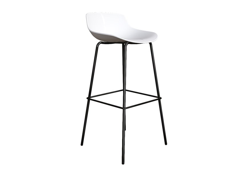 Stool with polypropylene shell and steel base QUEEN   High stool by Grado Design