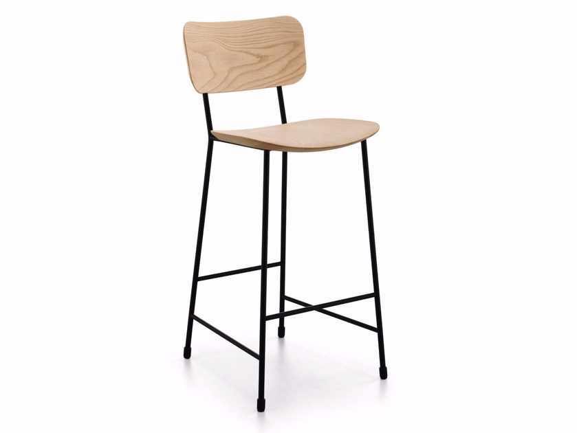 High Fenix-NTM® stool with back with footrest MASTER | High stool by Midj