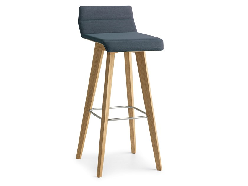 High upholstered stool with footrest METRIA | High stool by Passoni